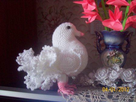 Белый голубь Вязание крючком.