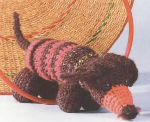 Вязание мордочки.  Начало вязания - кончик носа.