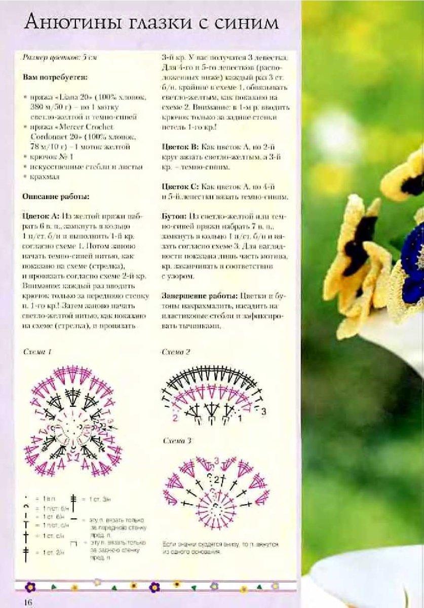 Схема салфеток с цветами анютины глазки