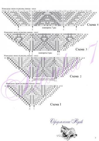 Размеры шали. схема вязания шали. на статью Схемы вязания крючком и спицами Работает.ВЯЗАНИЕ СПИЦАМИ ДЛЯ